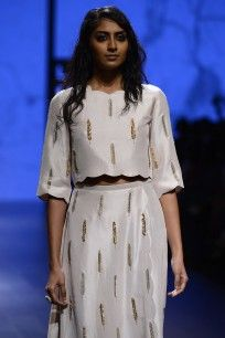 Stone Feather Embroidered Crop Top with Overlay Palazzo Pants  #LAKMEFASHIONWEEK…
