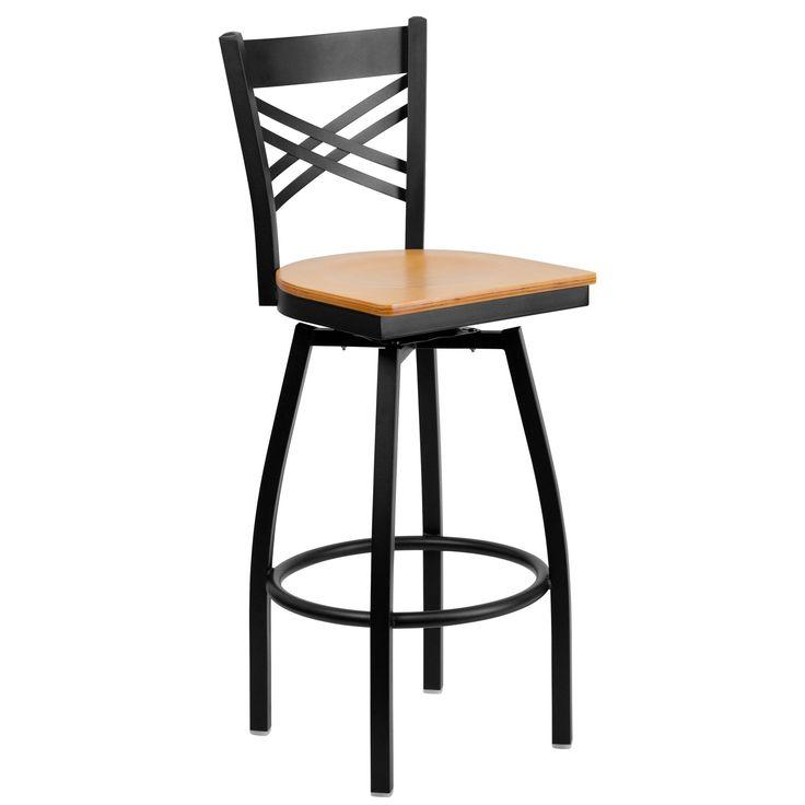 HERCULES Series Black X Back Swivel Metal Bar Stool - Natural Wood Seat. 16.5''W x 20.5''D x 44.5''H