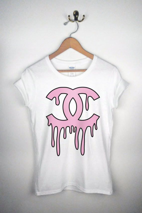 CHANEL MELTING LOGO  white women's tee by DressedToThrillShop etsy.com/shop/dressedtothrillshop