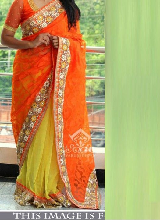 Buy Orange & Yellow Brasso Georgette Designer Saree