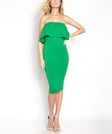 Love this Green Ruffle-Overlay Strapless Midi Dress - Plus Too on #zulily! #zulilyfinds