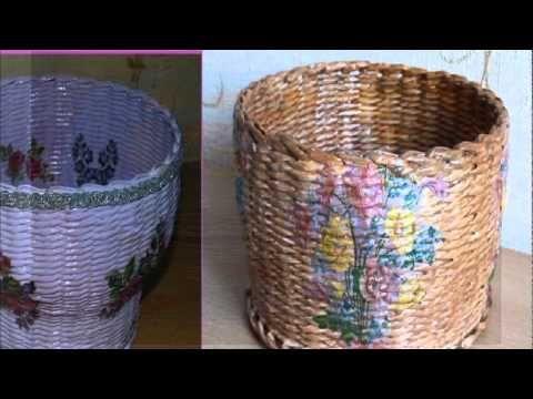 Плетение из газет корзинка сердечко weaving newspapers periódicos de tejer - YouTube