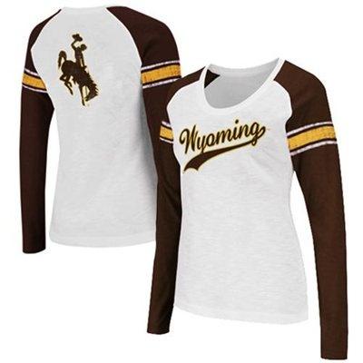 Wyoming Cowboys Ladies Sycamore Raglan Long Sleeve T-Shirt - White/Brown