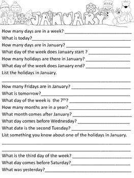 CALENDAR SKILLS FOR LIFE SKILLS/SPEECH THERAPY - TeachersPayTeachers.com