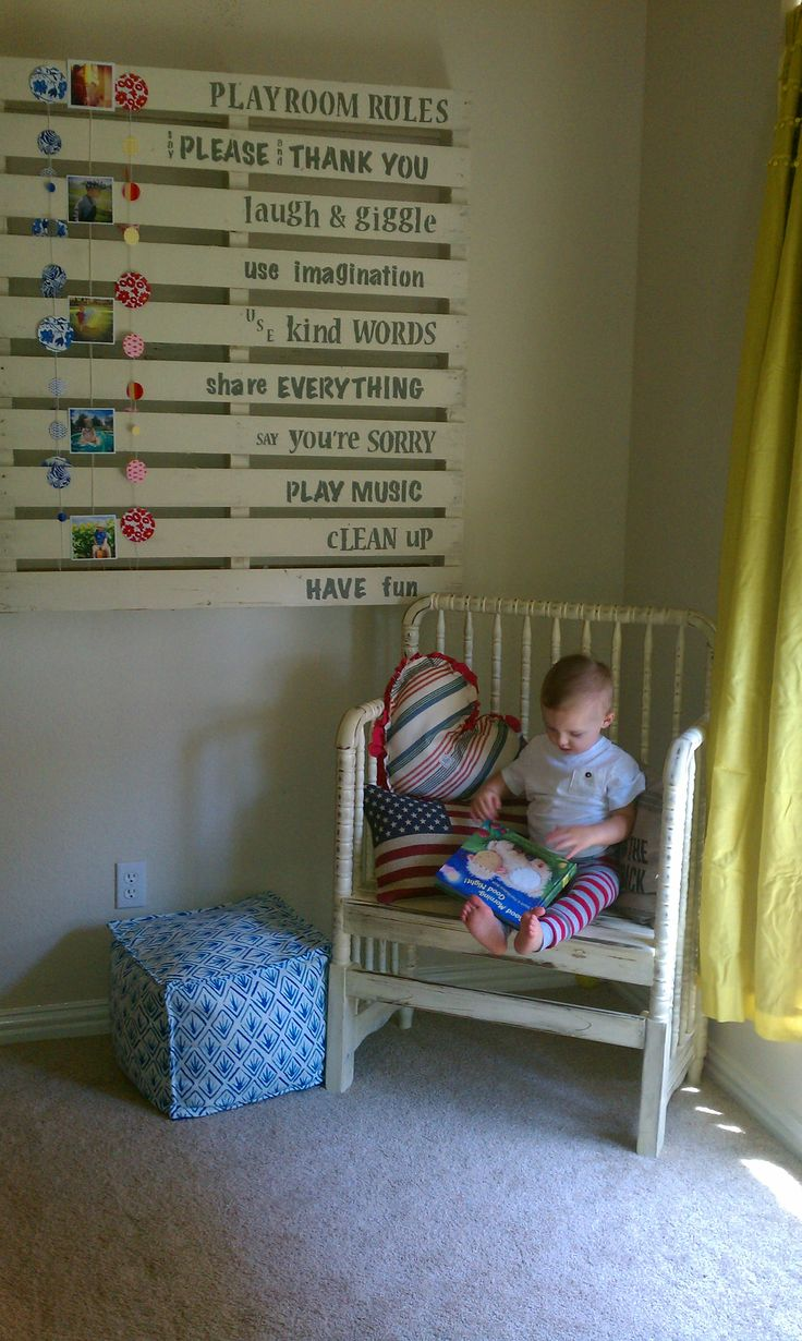 LOVE this chair - maybe for claire's room if can find a similar one?  Kannons reading nook. Playroom pallet project.