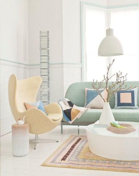 Pastel Living Room – Light Green Sofa, Yellow Chair