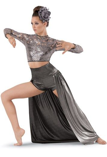 "Gray Sequined Long-Sleeved Bodice and Metallic High-Waisted Open-Front Maxi Skirt, Comes with Flower for Hair - ""Waves"""