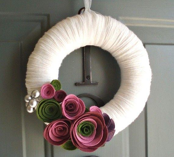 Hilo corona fieltro decoración de la puerta hecha a mano - violeta jardín en 8