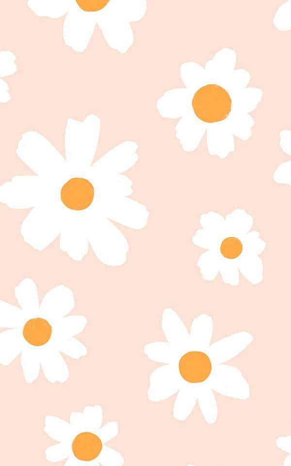 Cute Daisy Wallpaper Retro Floral Design Muralswallpaper In 2020 Daisy Wallpaper Cute Patterns Wallpaper Pretty Wallpaper Iphone