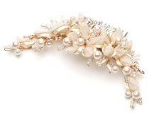 Ivory and Gold Ribbon Gold Bridal Comb