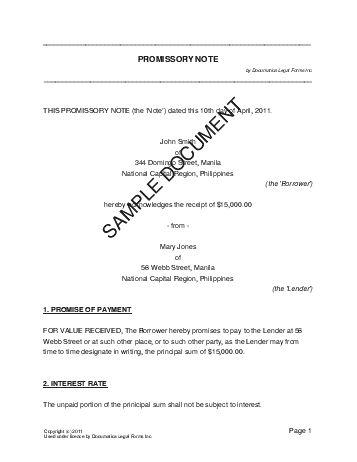 promissory note for car xv-gimnazija