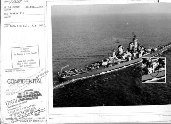 A rare photograph has surfaced apparently showing an elevator added to the battleship USS Iowa, one of a handful of adaptations made to the vessel for President Franklin D. Roosevelt during World War II. The ship transported FDR to the Tehran Conference to meet with Allied leaders Churchill and Stalin.