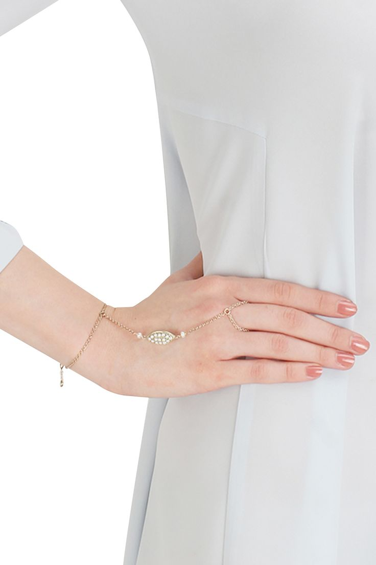 Silver finish seed pearl hand harness available only at Pernia's Pop Up Shop.