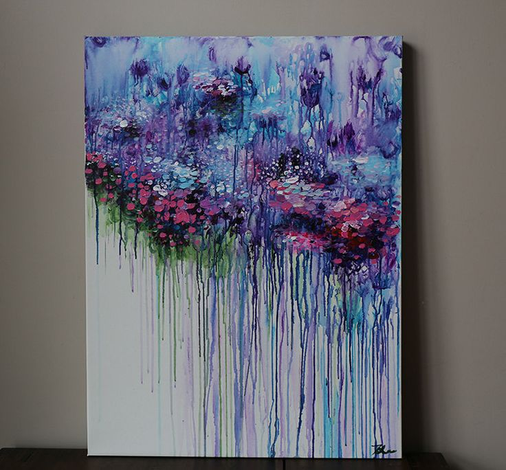 Violet Purple Abstract Flower Painting Acrylic Painting
