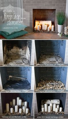 How I Styled My Fireplace for the Summer...I love the layer of texture the stones bring. (Lia Griffith)