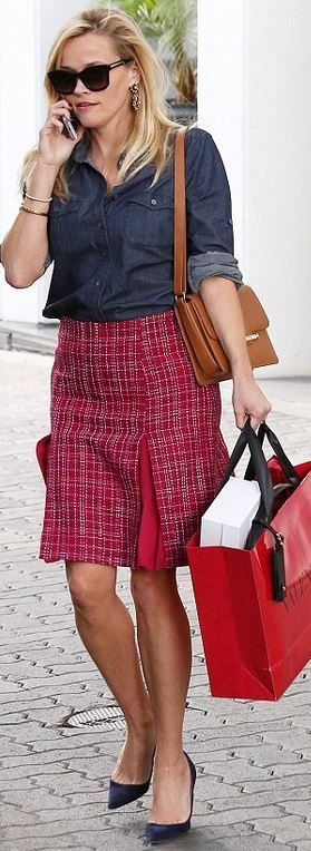 Who made Reese Witherspoon's blue suede pumps, red plaid skirt, button down shirt, and handbag?