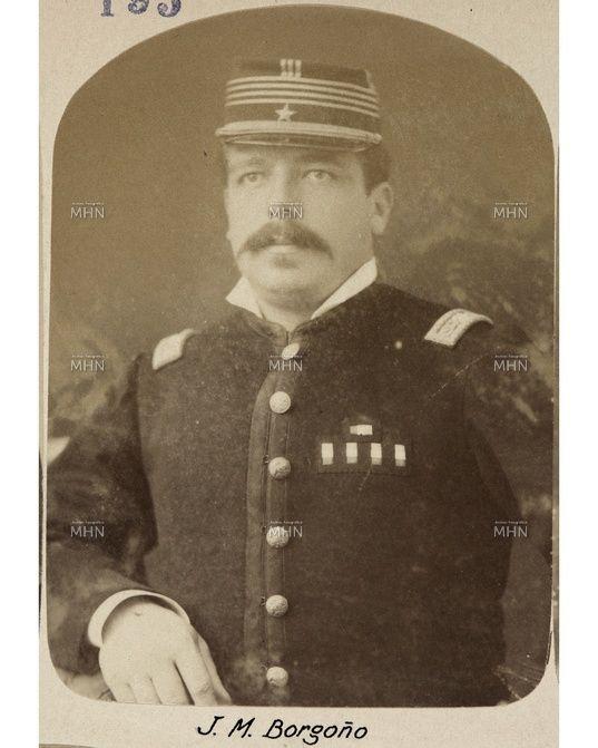 """Sargento Mayor Josè Manuel Borgoño, el día 14 de Febrero de 1879 descendió del """"Cochrane"""" en calidad del parlamentario ante las autoridades bolivianas a notificar la toma de posesión de Antofagasta."""