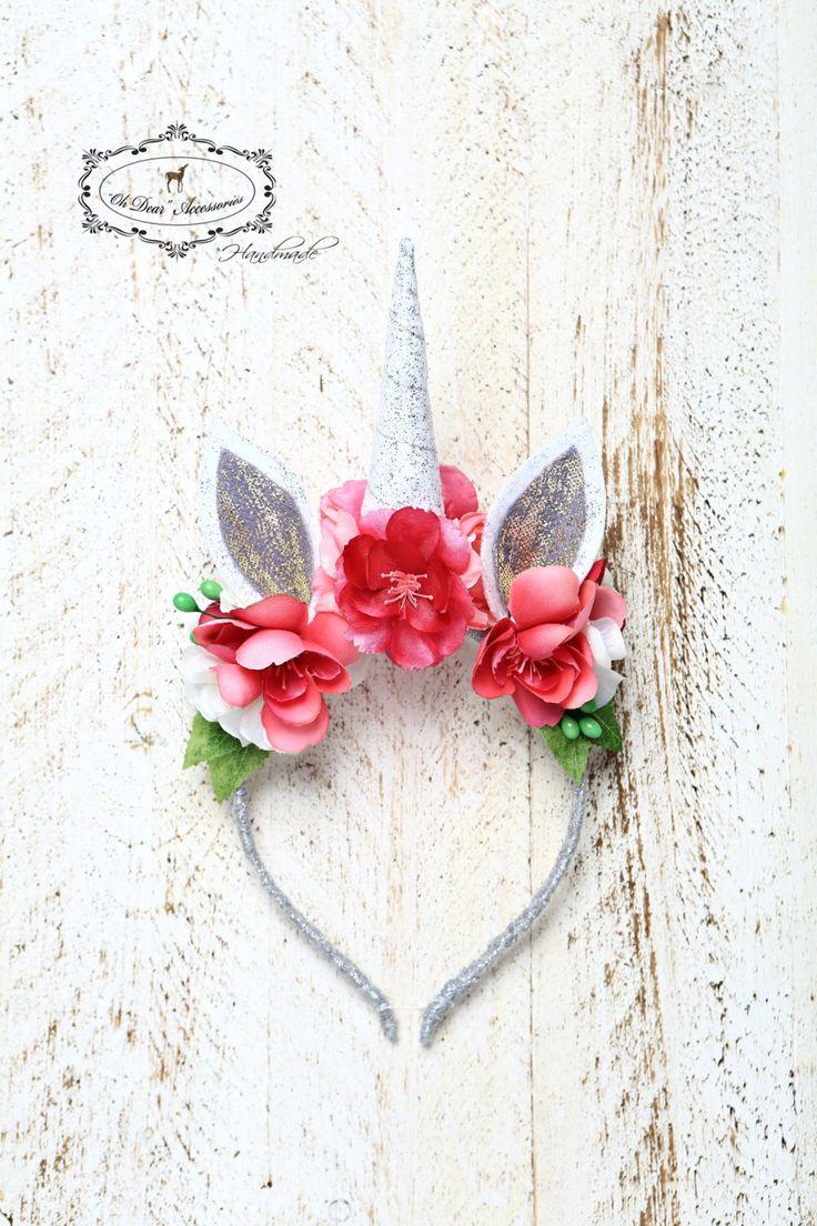 unicorn headband, magic, fantasy, birthday party, style photo session, photo prop, unicorn, spring, pink unicorn by OhDearAccessories on Etsy