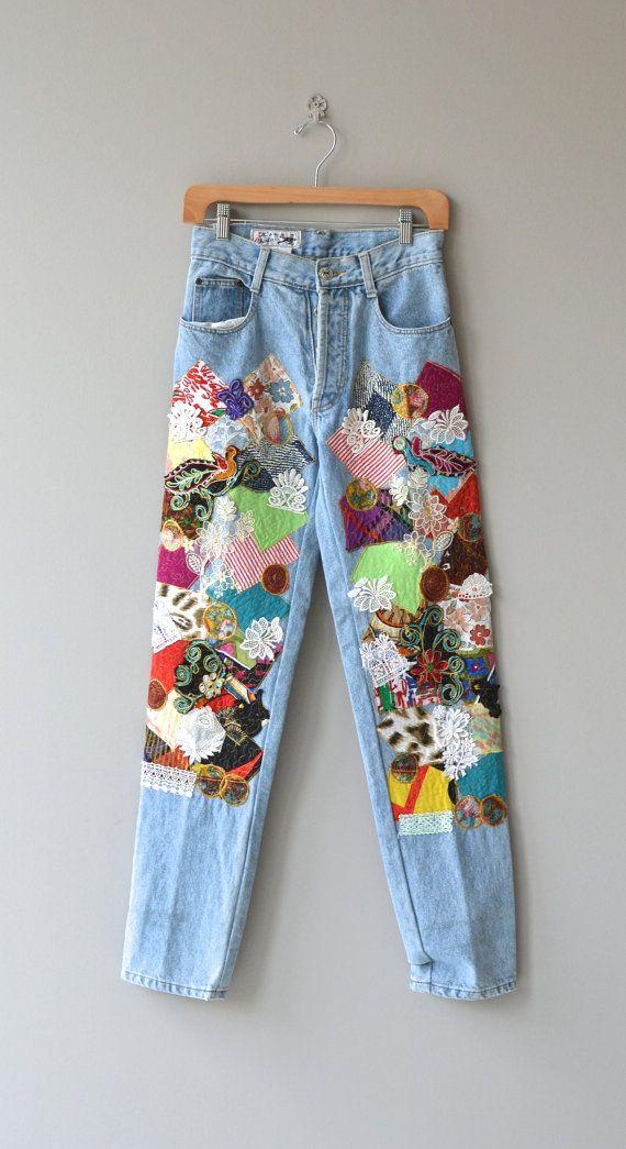 Happy Patchwork jeans vintage 1980s denim high by DearGolden