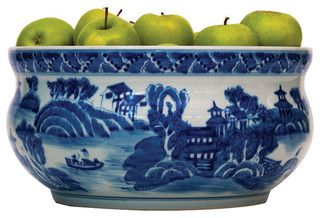 Summer Palace Chinese Hand Painted Blue White Basin Fruit Bowl - asian - serving bowls - by Kathy Kuo Home