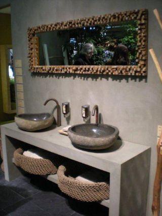 River Rock Granite Mini Bathroom Sink Stone Wash Basin