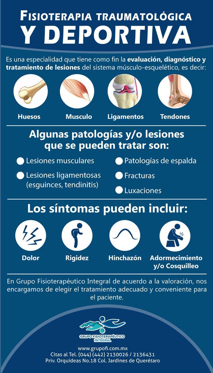 La fisioterapia traumatológica y deportiva es una especialidad que tiene como fin la evaluación, diagnóstico y tratamiento de lesiones del sistema músculo-esquelético, es decir, aquellas lesiones en las que se encuentran involucrados: huesos, músculos, ligamentos, tendones.