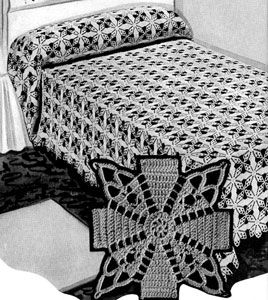Jenny Lind Bedspread crochet pattern from Bedspreads, originally published by the Spool Cotton Company, Book 151, in 1940.