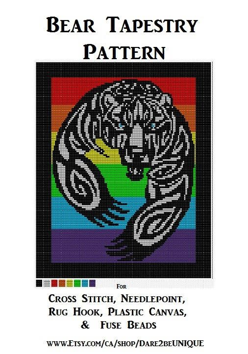 Rainbow Bear Tapestry PATTERN, Cross Stitch, Needlepoint Embroidery Latch Hook Rug Designs, Perler Patterns, Hama Crafts, Bears Download PDF by Dare2beUNIQUE on Etsy