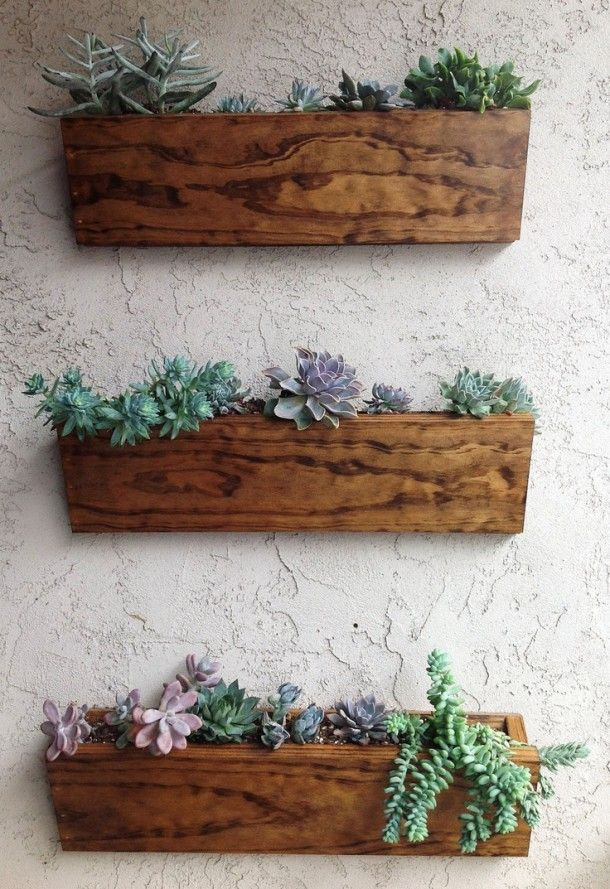 3-pcs-Brown-rustic-box-wall-mounted-pot-
