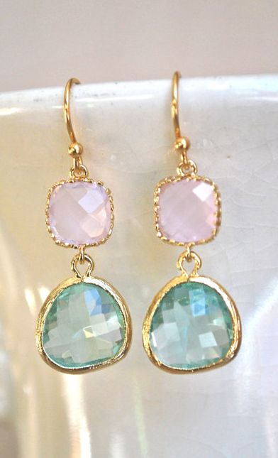 Cool Pink and Sea Glass Dangle Earrings