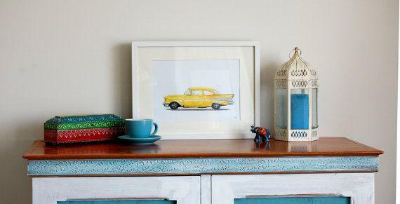 Classic car art,classic car nursery, 57 Chevy Watercolor car Painting.