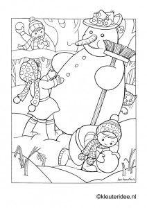 kleurplaat winter, sneeuwpop maken, voor kleuters, kleuteridee, Preschool snow coloring, free printable