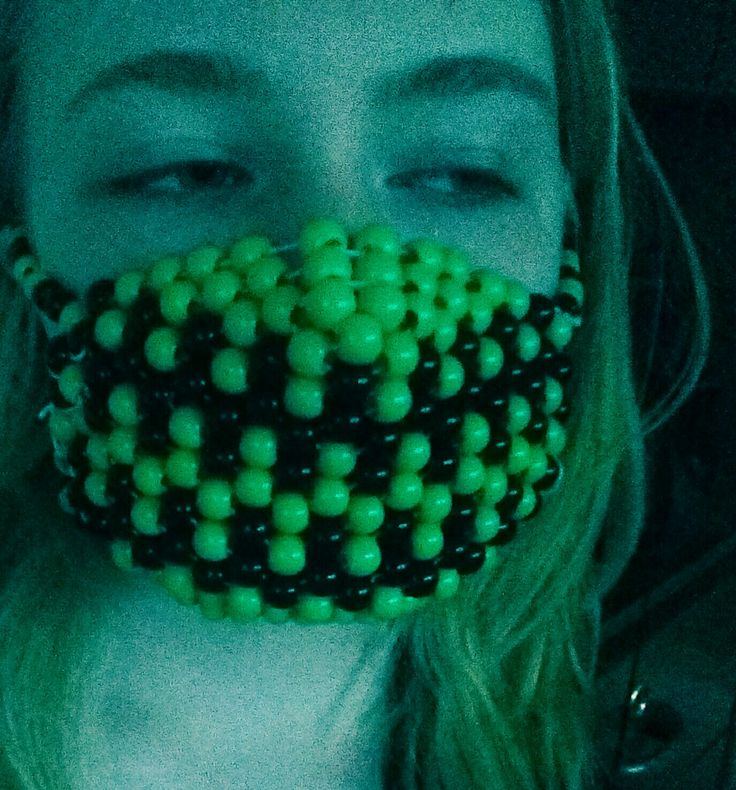 Green and black kandi mask