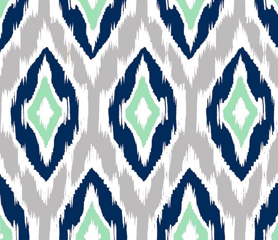 Ikat Fabric by the Yard  Navy Gray Mint and by GailWrightatHome, $38.00