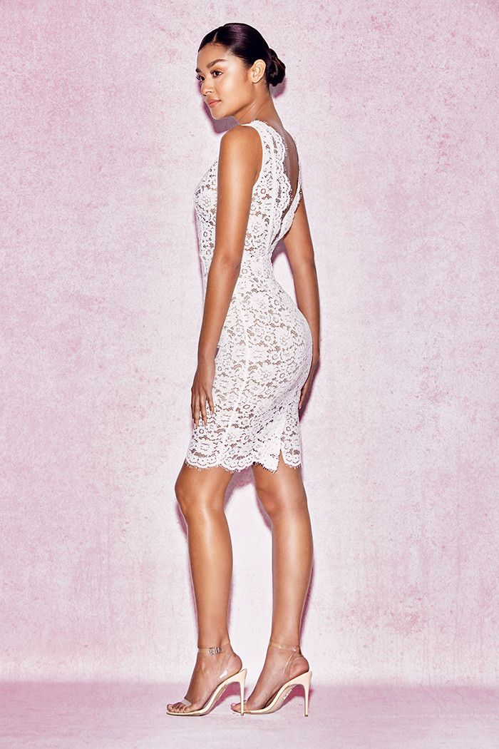 Clothing :: Dresses :: Bodycon Dresses :: 'Shasa' White Lace Scallop Dress - House of CB | Be Obsessed | Brit Designed Bandage Bodycon Dresses & Way More.