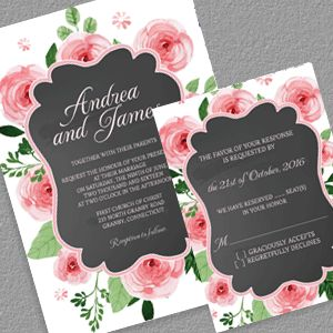 Chalkboard And Rose Frame Invitation RSVP