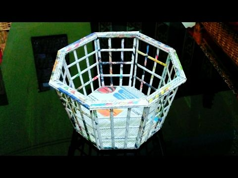 How to make a newspaper basket  (UNIQUE) - YouTube