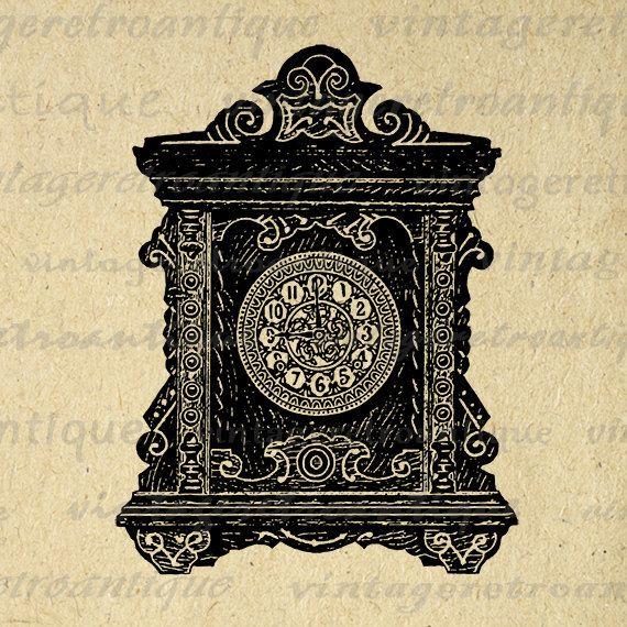 Old Fashioned Clock Image Graphic Printable Illustration