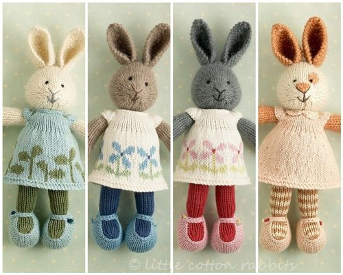 "These rabbits are the work of the very talented Julie Williams of the blog ""Little Cotton Rabbits"" (littlecottonrabbits.typepad.co.uk).   She creates many different types of critters, and generously shares some of her patterns for free."