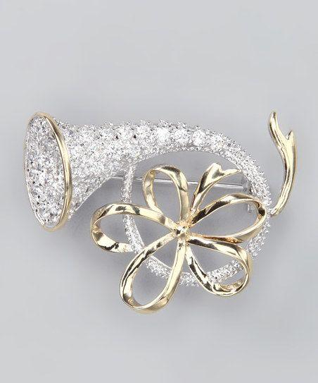 Silver & Gold Horn Pin