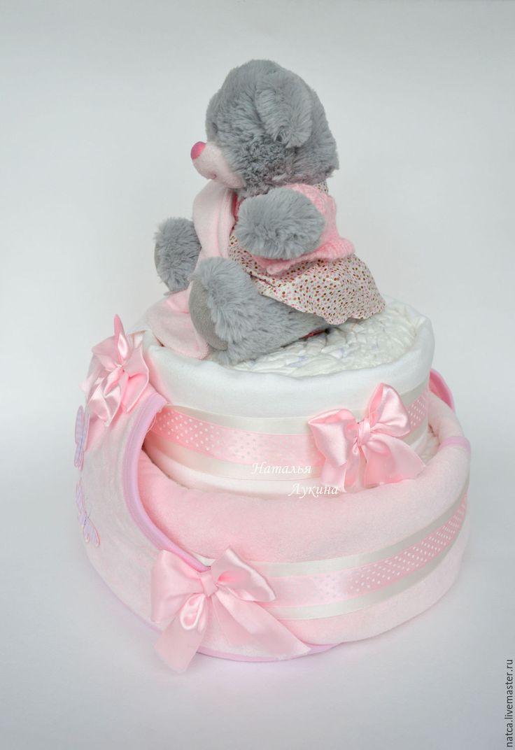 """Купить Торт из памперсов """"Розовые сны"""" - розовый, торт из памперсов, торт из подгузников"""