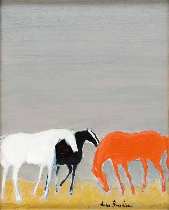 André Brasilier (French, born in 1929) Three horses in the stable (Trois chevaux à l'écurie), 2000