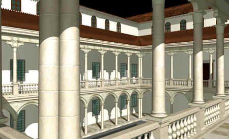 Reconstrucción virtual del Patio del Rey del Alcázar de Madrid en el siglo XVI