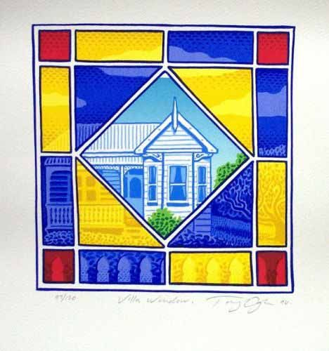 'Villa Window' by Tony Ogle, NZ. Painting of a NZ Heritage home seen through a stained glass window - blue, red and yellow.