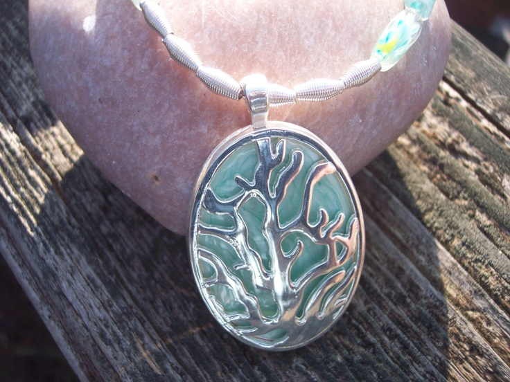 Blue and green necklace silver sea coral by AliciasFindings, $30.00