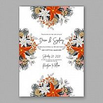 пуансеттия приглашение на свадьбу карта красивый зимний цветочный орнамент рождественской вечеринки пригласите венок пуансеттия, сосновые ветви ель, игла, дикий бирючины ягодный, букет Девичник акварельные