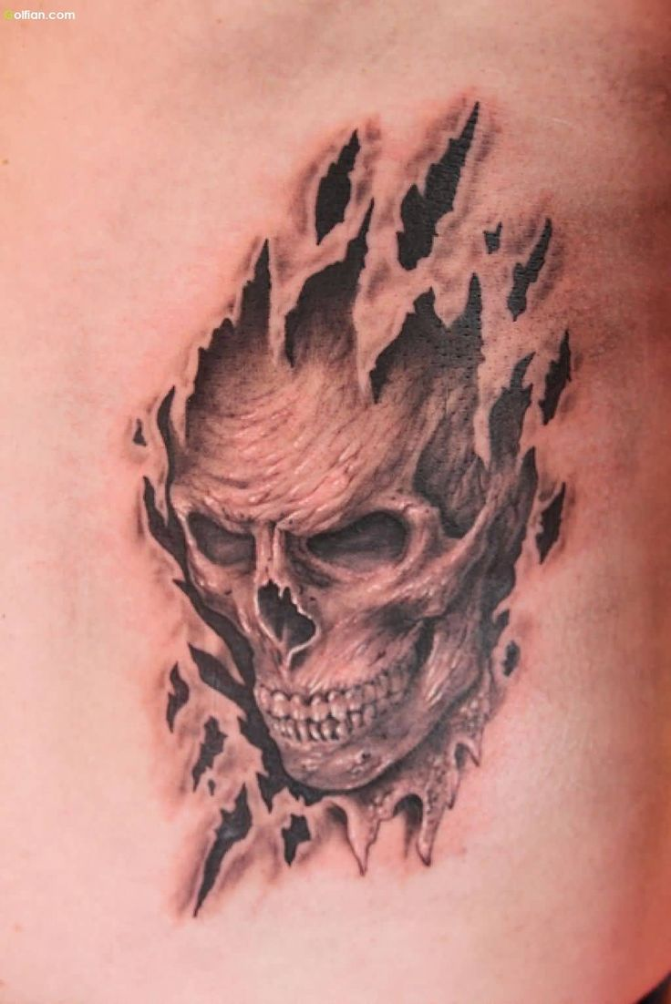 30 best ripped skin skull tattoo design and melting images for Torn skin skull tattoo