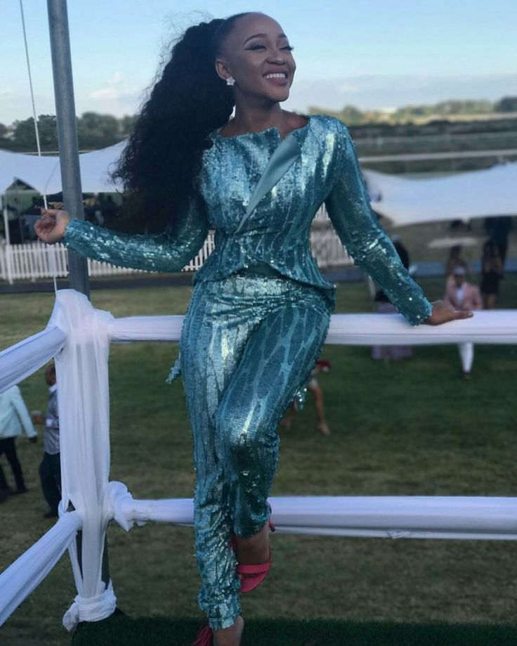 PICS: See South African Actress @Thando_Thabethe In Her Element Flaunting This Glossy Blue Number   FashionGHANA.com: 100% African Fashion