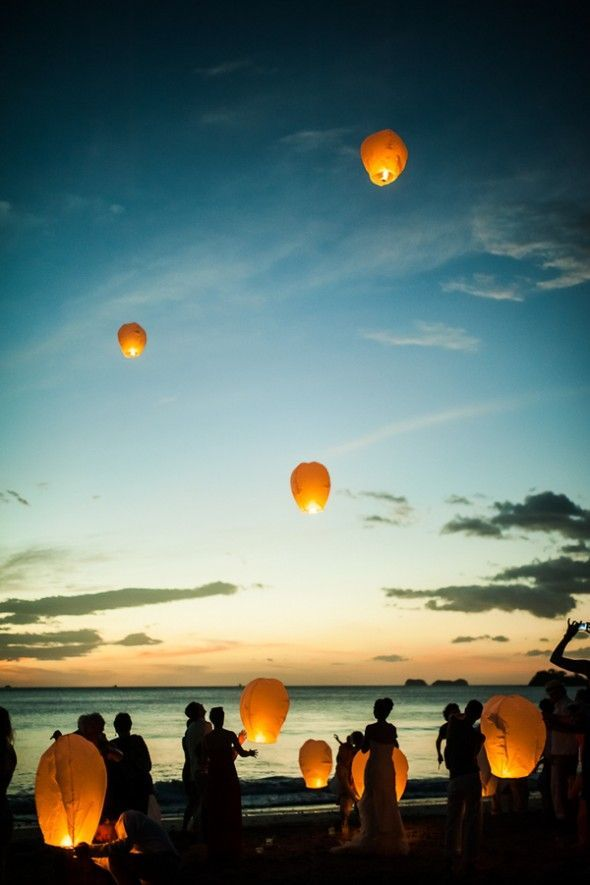 costa rica rustic beach wedding sky lanterns