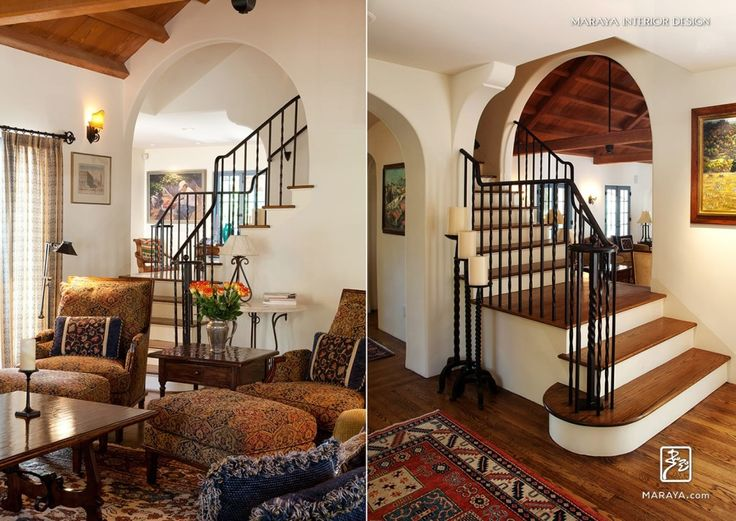 Old Ojai Spanish Home, Stairwell With Wood Flooring, Wrought Iron Railing,  Arched Walls, Maraya Interior Design